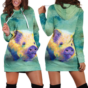 Women's Hoodie Dress - Pig 07