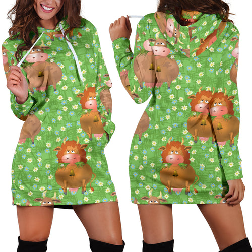 Women's Hoodie Dress - cow 13