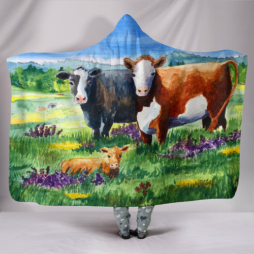 Hooded Blanket - cow painting style 02
