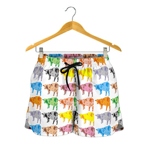 All over print women's shorts - cow 9