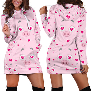 Women's Hoodie Dress - Pig 23