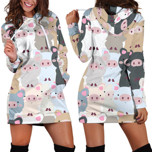 Women's Hoodie Dress - Pig 17