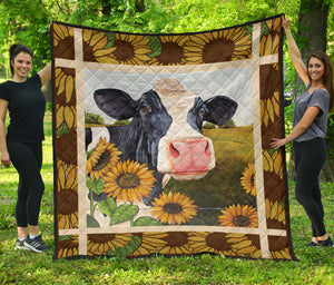 Cow Sunflowers - Quilt for cow lovers sk03