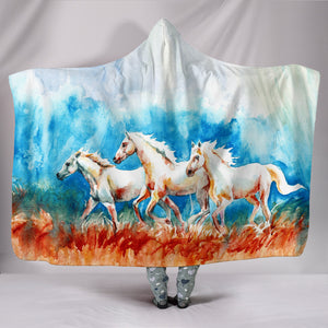 Hooded Blanket - horse painting style