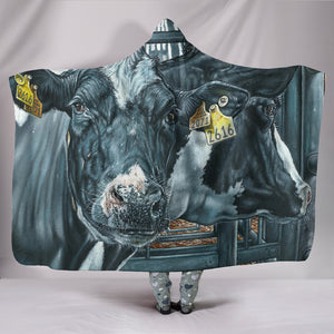 Hooded Blanket - cow painting style 01