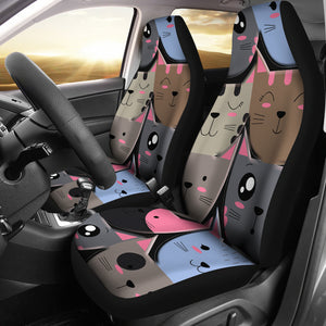 Cute cat faces Car Seat Cover