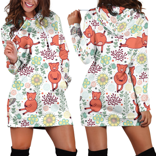 Women's Hoodie Dress - Pig 12