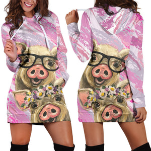 Women's Hoodie Dress - Pig 06