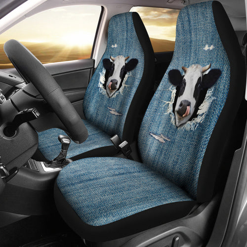 3D cow fake jean-2 car seat covers