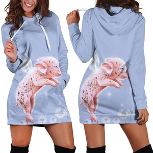 Women's Hoodie Dress - Pig 03