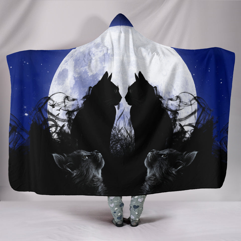 Kissing Moon Cats Hooded Blanket