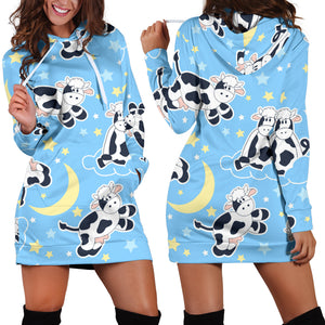 Women's Hoodie Dress - cow 12