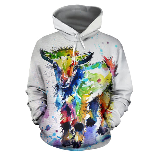 All over print hoodie for men & women - watercolor-goat