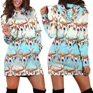 Women's Hoodie Dress - cow 04