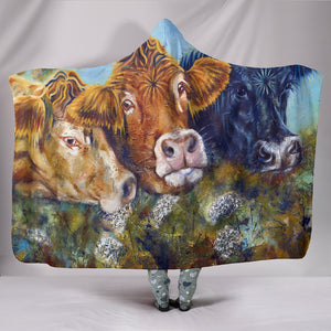 Hooded Blanket - cow painting style 03