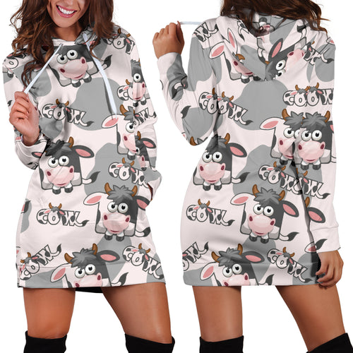 Women's Hoodie Dress - cow 14