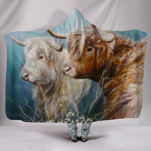 Hooded Blanket - cow painting style 04