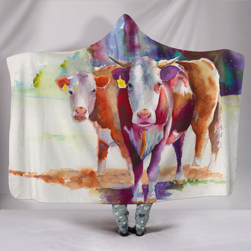 Hooded Blanket - cow painting style