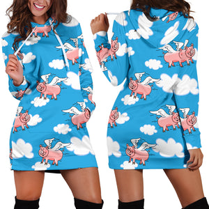 Women's Hoodie Dress - Pig 19