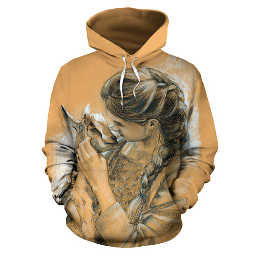 All over print hoodie for men & women- girl-carries-goat