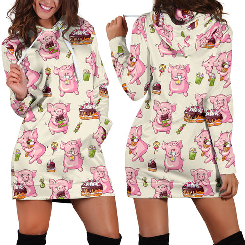 Women's Hoodie Dress - Pig 18