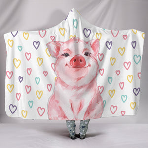 Hooded Blanket - pig cute heart