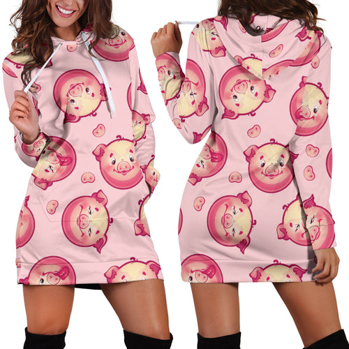 Women's Hoodie Dress - Pig 04