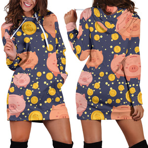 Women's Hoodie Dress - Pig 13