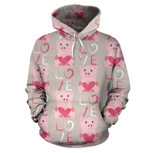 All over print hoodie for men & women - Pig - Love