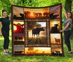 Cow in Sunset, Quilt for Cow lovers sk02