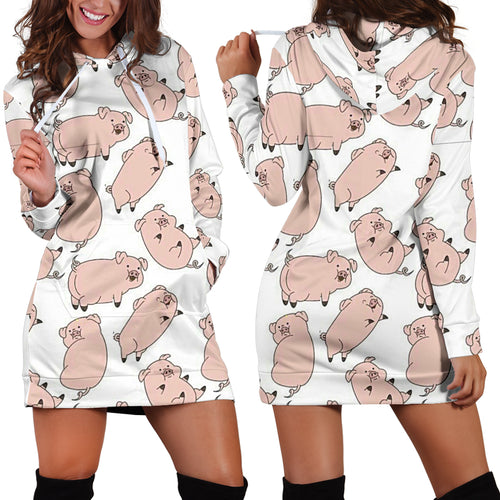 Women's Hoodie Dress - pig - pink