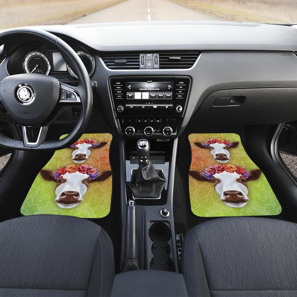 Front and back car mats- cow head flower (Set of 4)