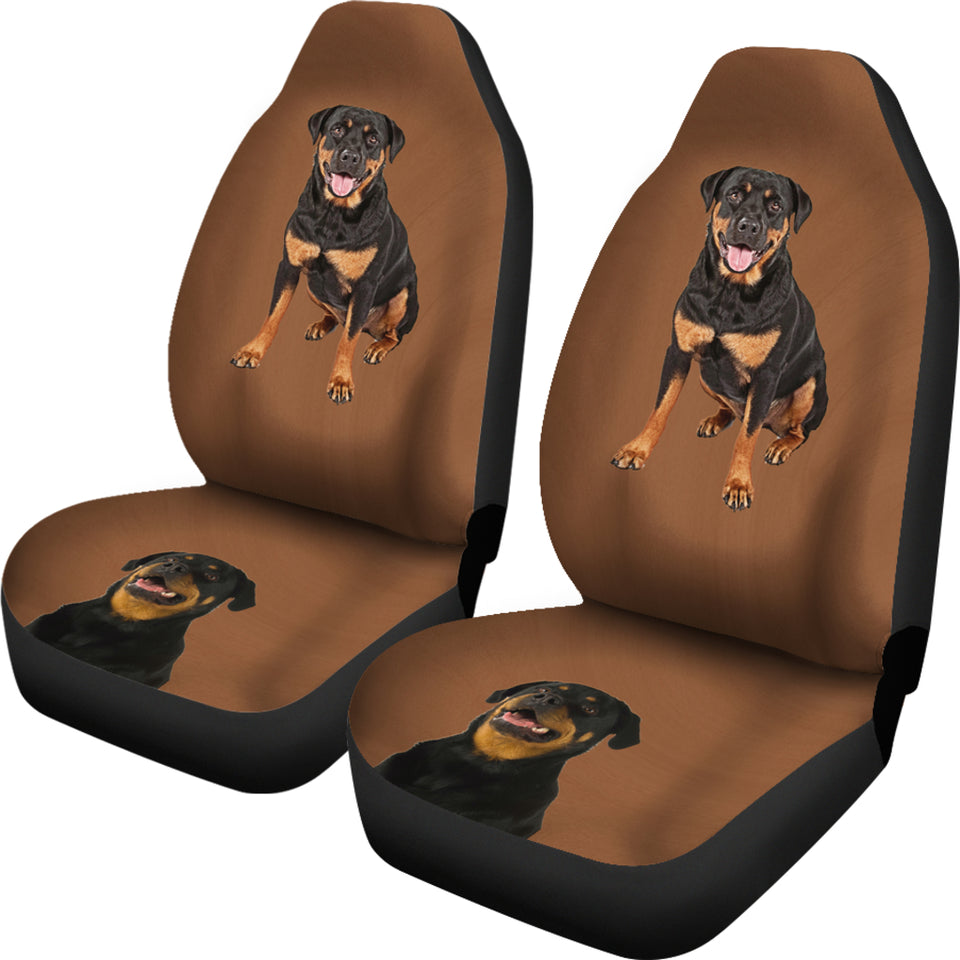 Brown background Rottweiler Car Seat Cover