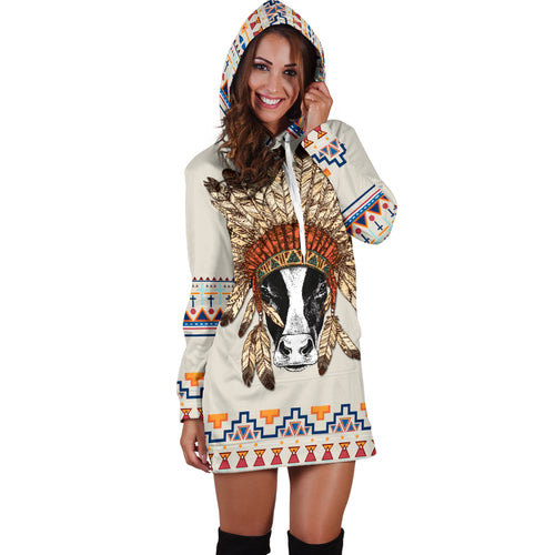 Women's Hoodie Dress - cow 09