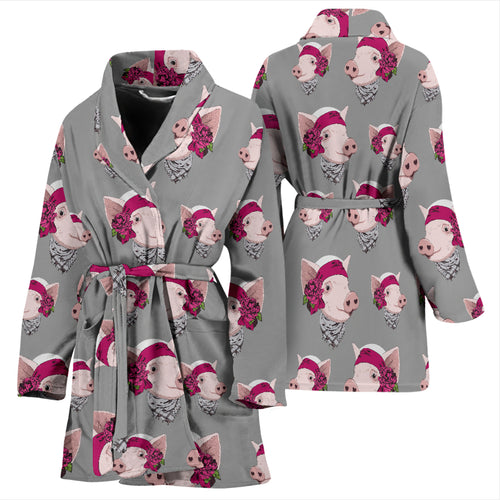 Women's Bath Robe - Pig 03