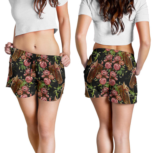 All over print women's shorts - horse 2