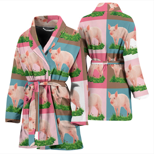 Women's Bath Robe - Pig 01