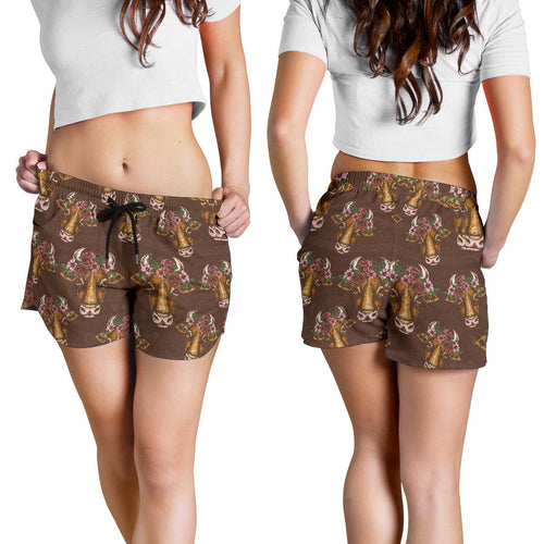 All over print women's shorts - cow 11