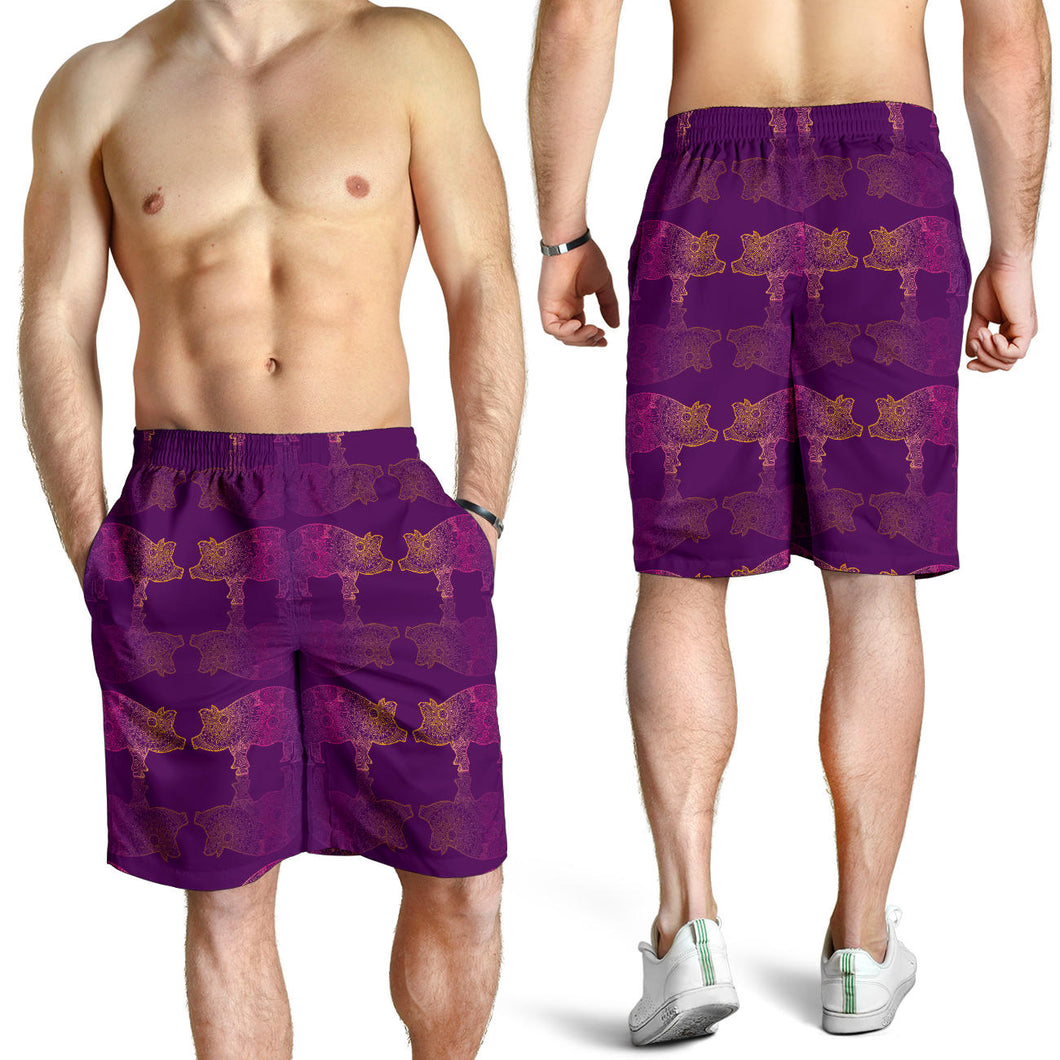 All over print men's shorts - pig 04