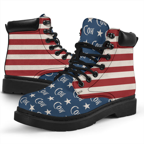 All Season Boots - Cow and American flag