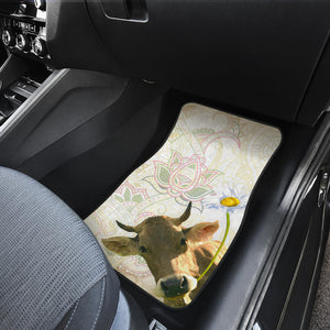 Front and back car mats- cow flower (Set of 4)