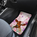 Front car mats (set 2) - Cows flowers 2
