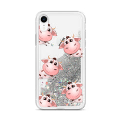 Liquid Glitter Phonecase for iPhone Cow 14