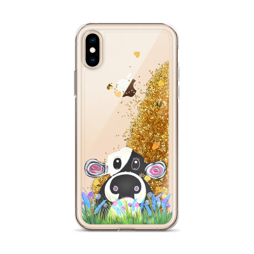 Liquid Glitter Phonecase for iPhone Cow 06
