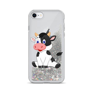 Liquid Glitter Phonecase for iPhone Cow 08