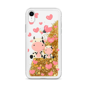 Liquid Glitter Phonecase for iPhone Cow 13