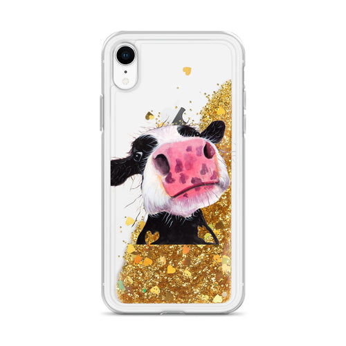 Liquid Glitter Phonecase for iPhone Cow 05