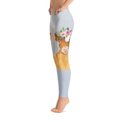 Women's Ultra Soft Leggings Fashion Seamless Stretch Pants for Cow Lovers-sk25