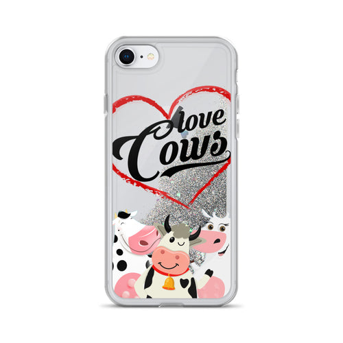 Liquid Glitter Phonecase for iPhone Cow 09