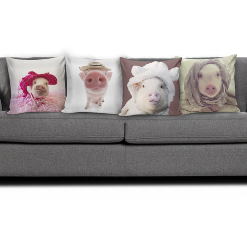 4 Pillow Covers - Pig Lovers 02